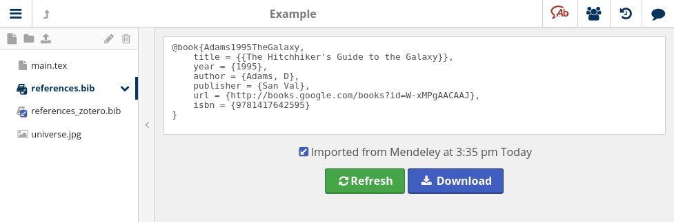 BibTeX file linked to Mendeley