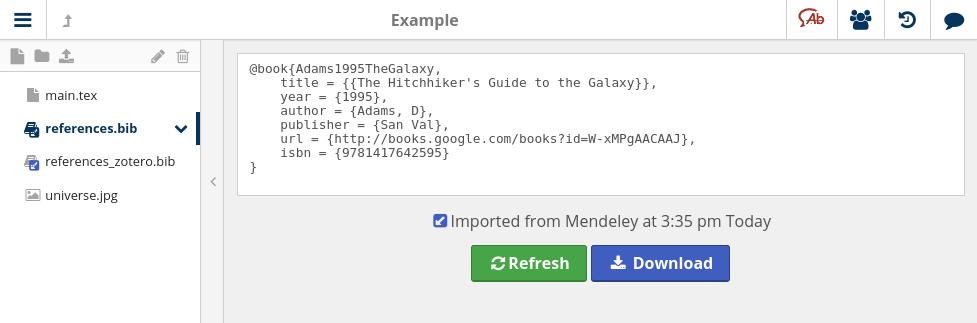 BibTeX file linked to Mendeley
